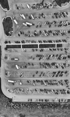 Aerial panoramic overhead view of airport crowded parking lot fu
