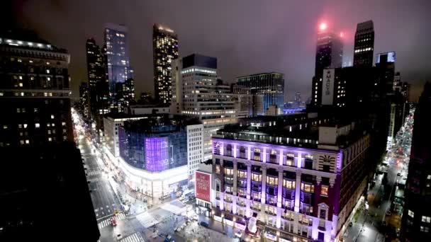 záběry z Manhattanu v noci, New York City