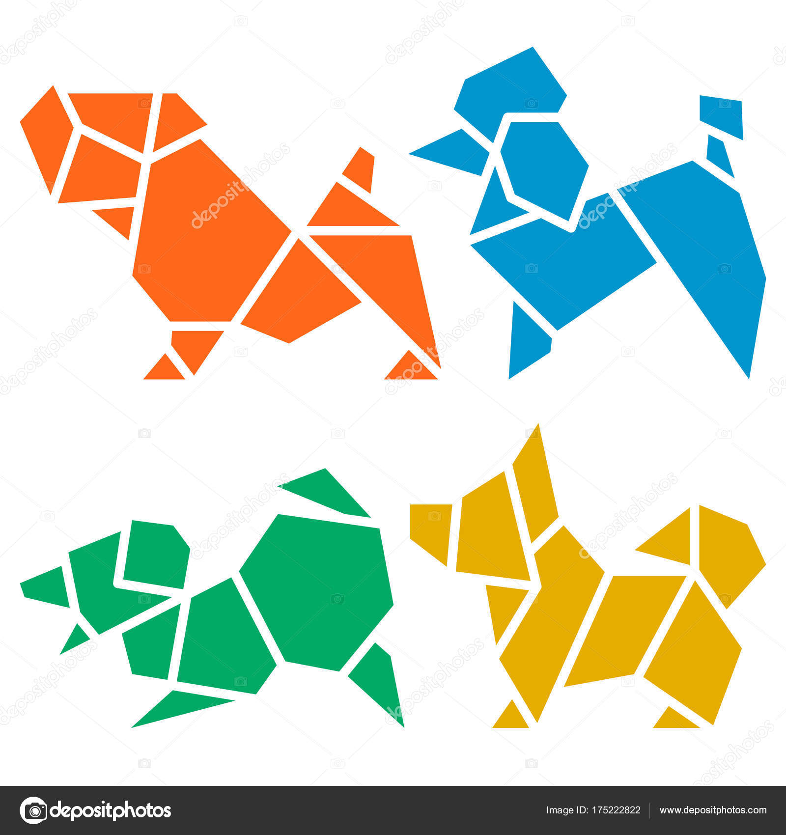 2018 Chinese New Year Symbol Stock Illustration Vector Origami Dogs Icon Set Abstract Low Poly Pet Dog