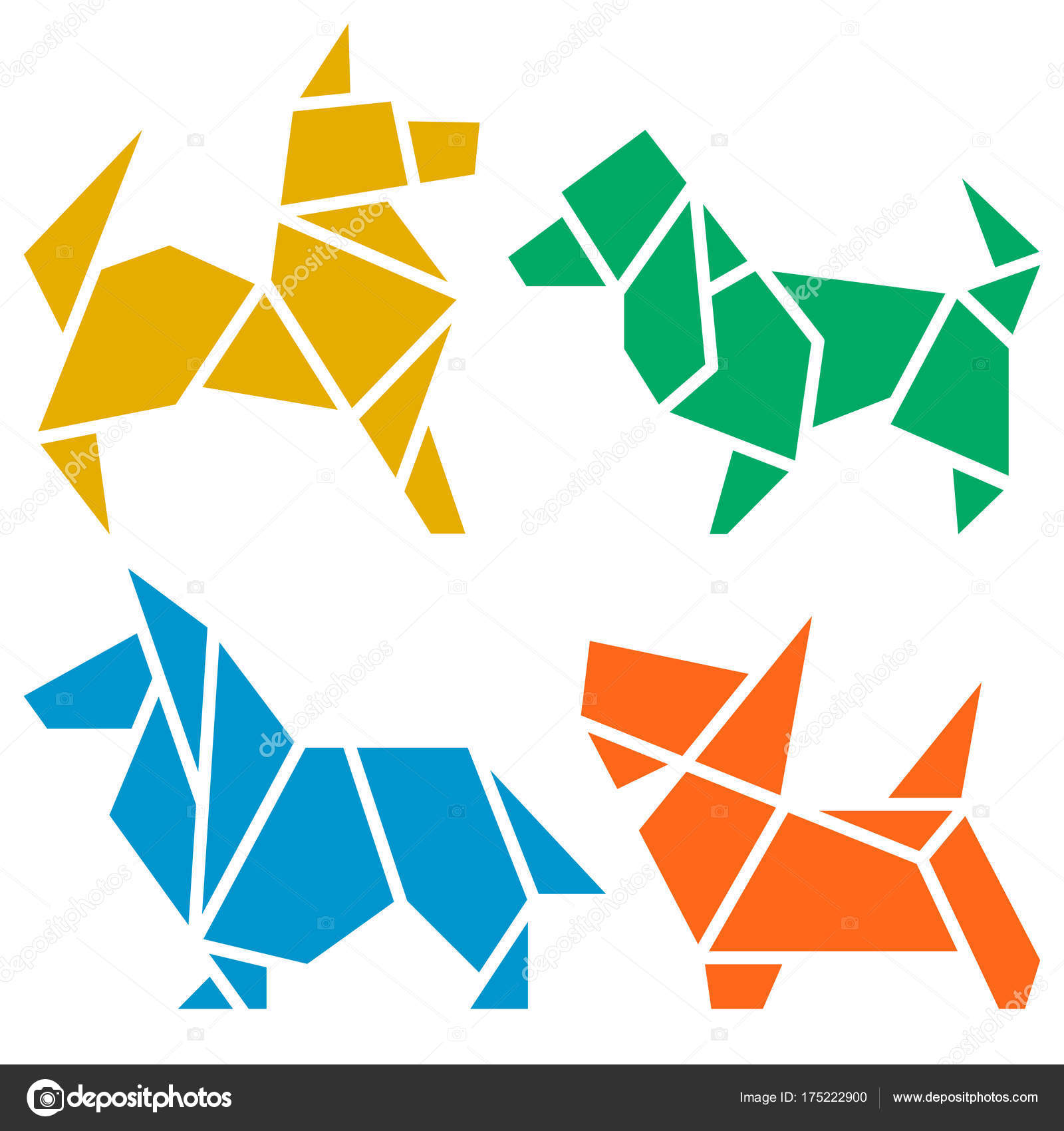 Vector origami dogs icon set abstract low poly pet dog stock vector origami dogs icon set abstract low poly pet dog breed sign silhouette isolated on white freehand drawn paper folding art emblem jeuxipadfo Gallery