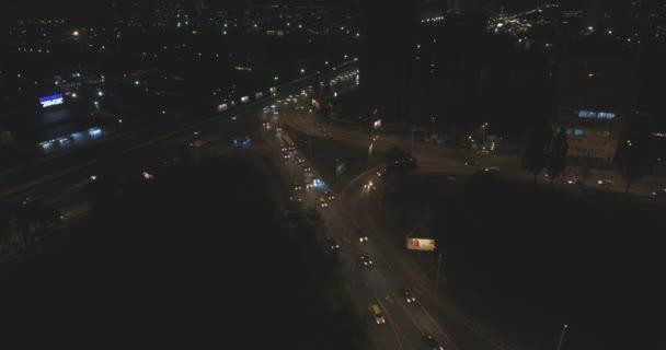 aerial view of Kyiv city skyline buildings at night.
