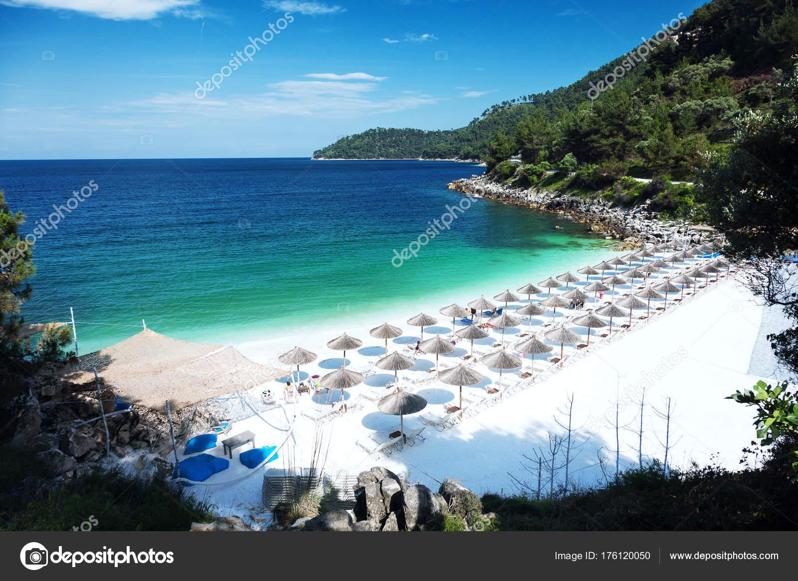 Marble Beach Saliara Beach Thassos Islands Greece Straw