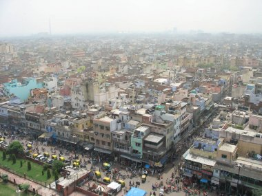 Aerial overview the centre of Old Delhi, India.