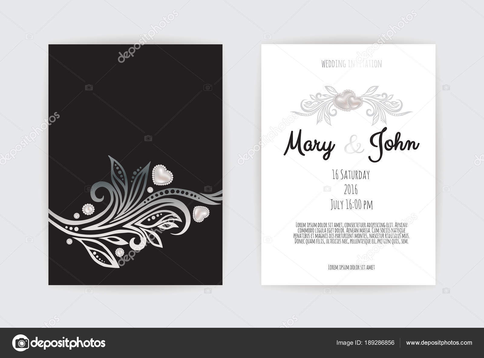 Vintage Wedding Invitation Templates Cover Design Silver Leaves