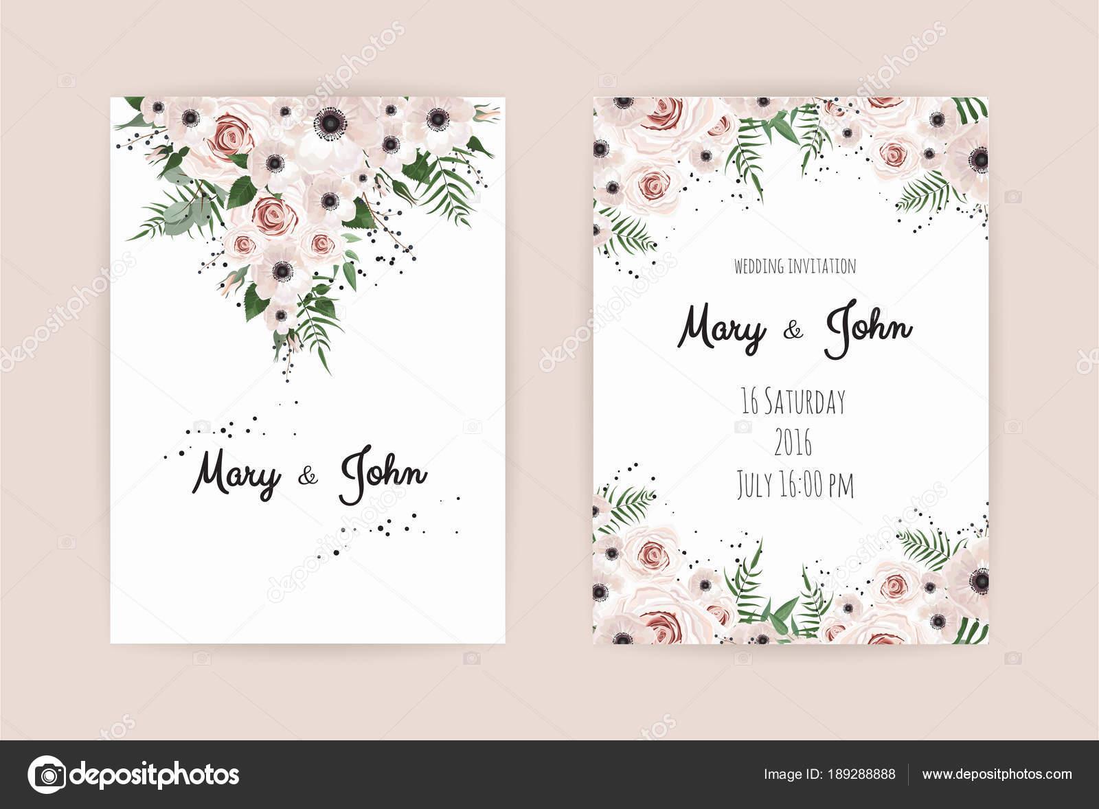 Hochzeit Einladungskarten Mit Floralen Elementen Auf Rosa