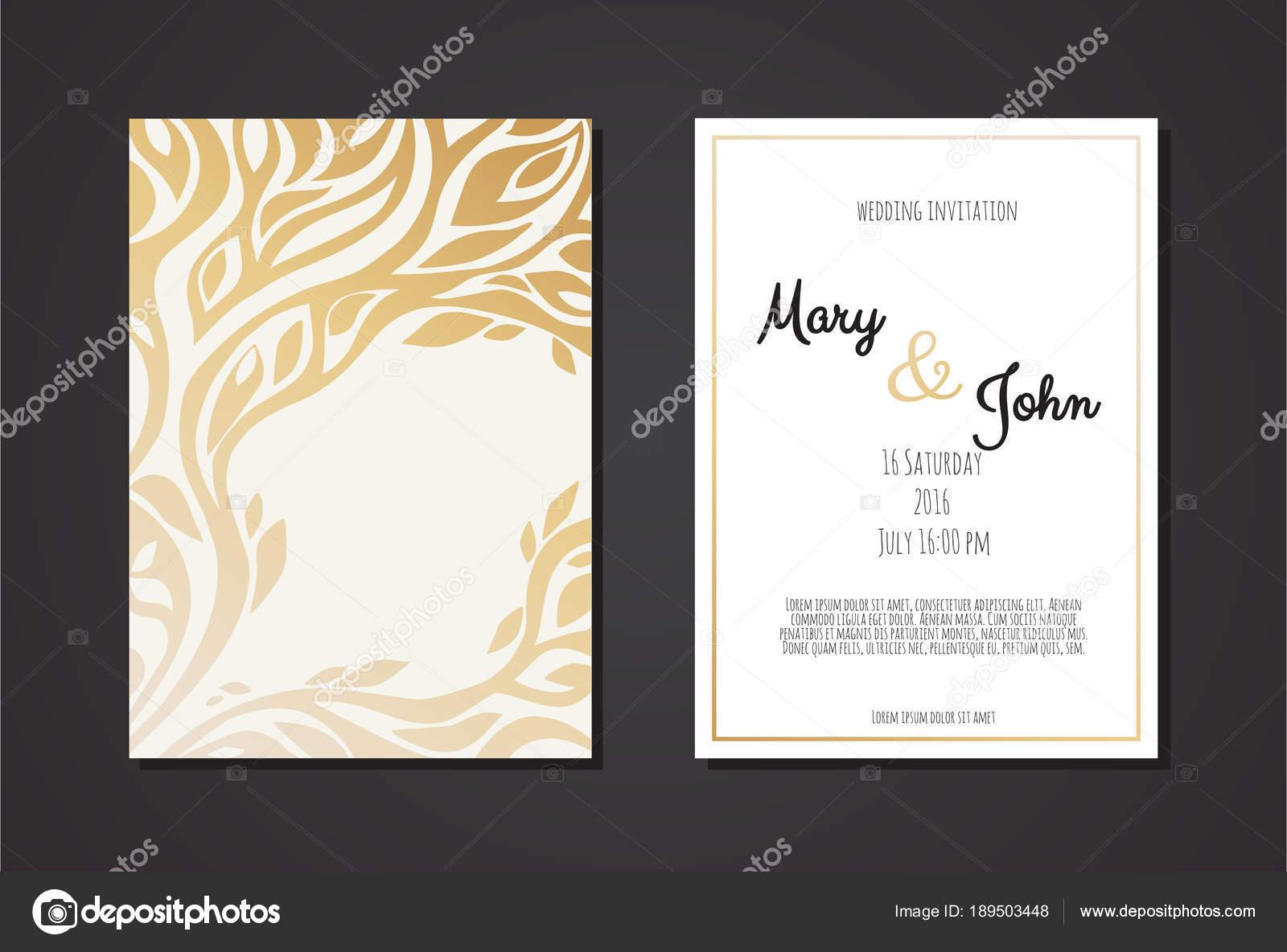 Wedding Invitation Templates Golden Ornament Black Background Vector