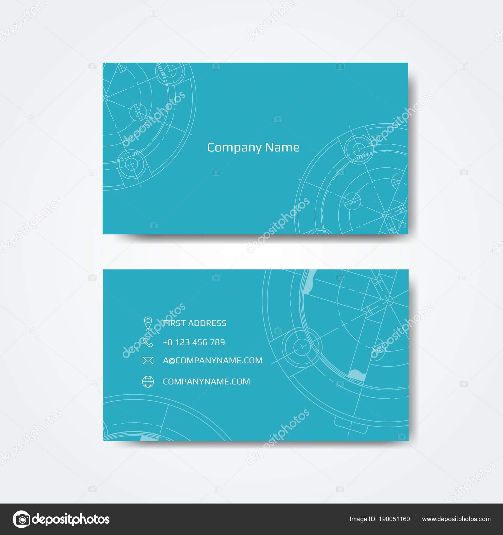 Jeu Carte Visite Technique Dessins Ingnierie Illustration Vectorielle Image