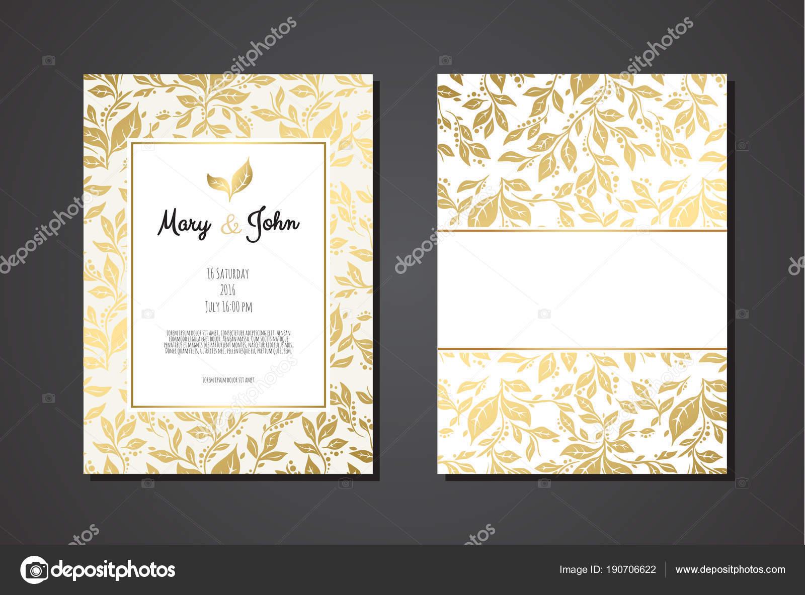 Wedding Invitation Templates Golden Ornament Black Background