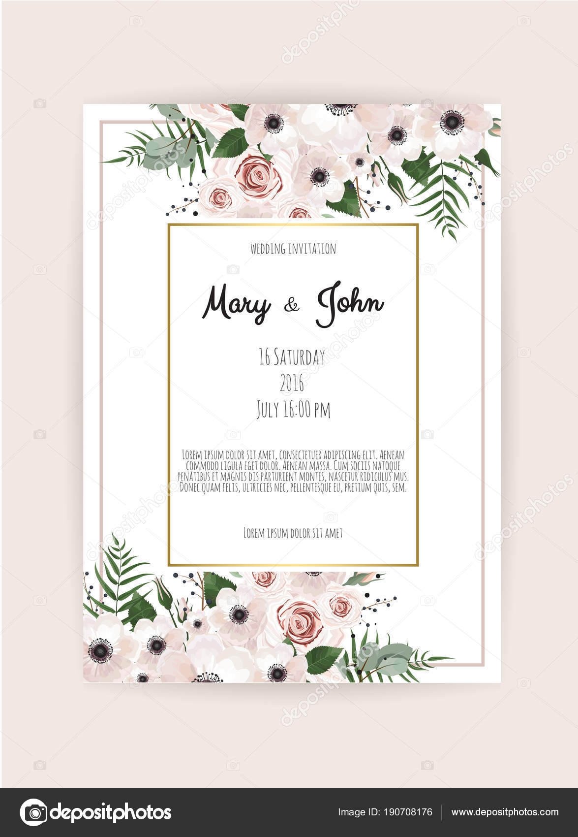 Wedding invitation cards floral elements pink background vetores wedding invitation cards floral elements pink background vetores de stock stopboris Gallery