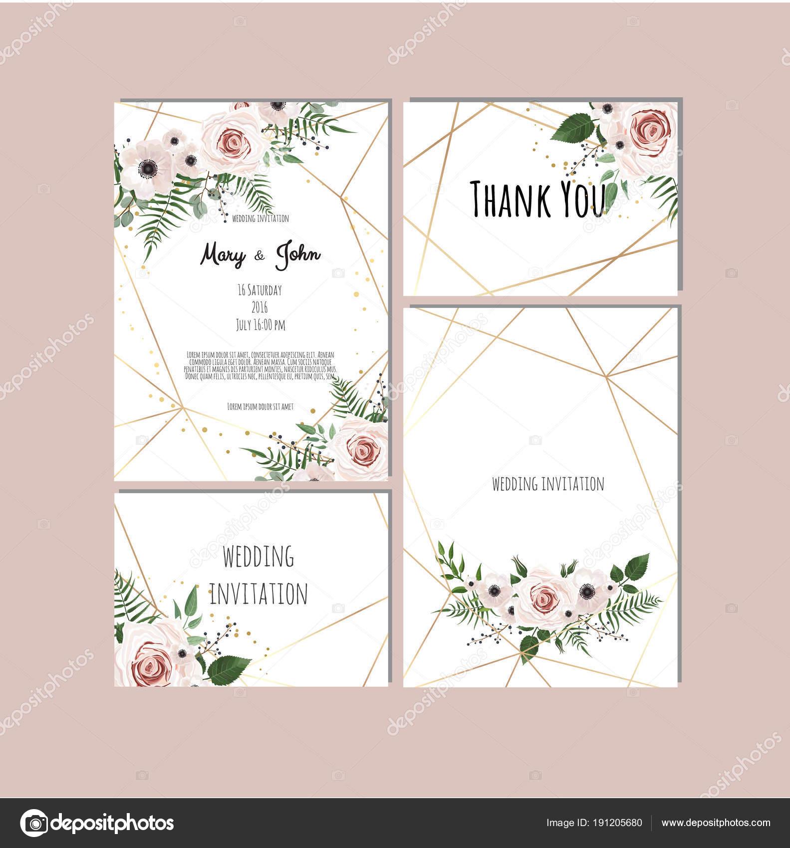 Vintage Blumen Hochzeit Einladung Vorlagen Stockvektor