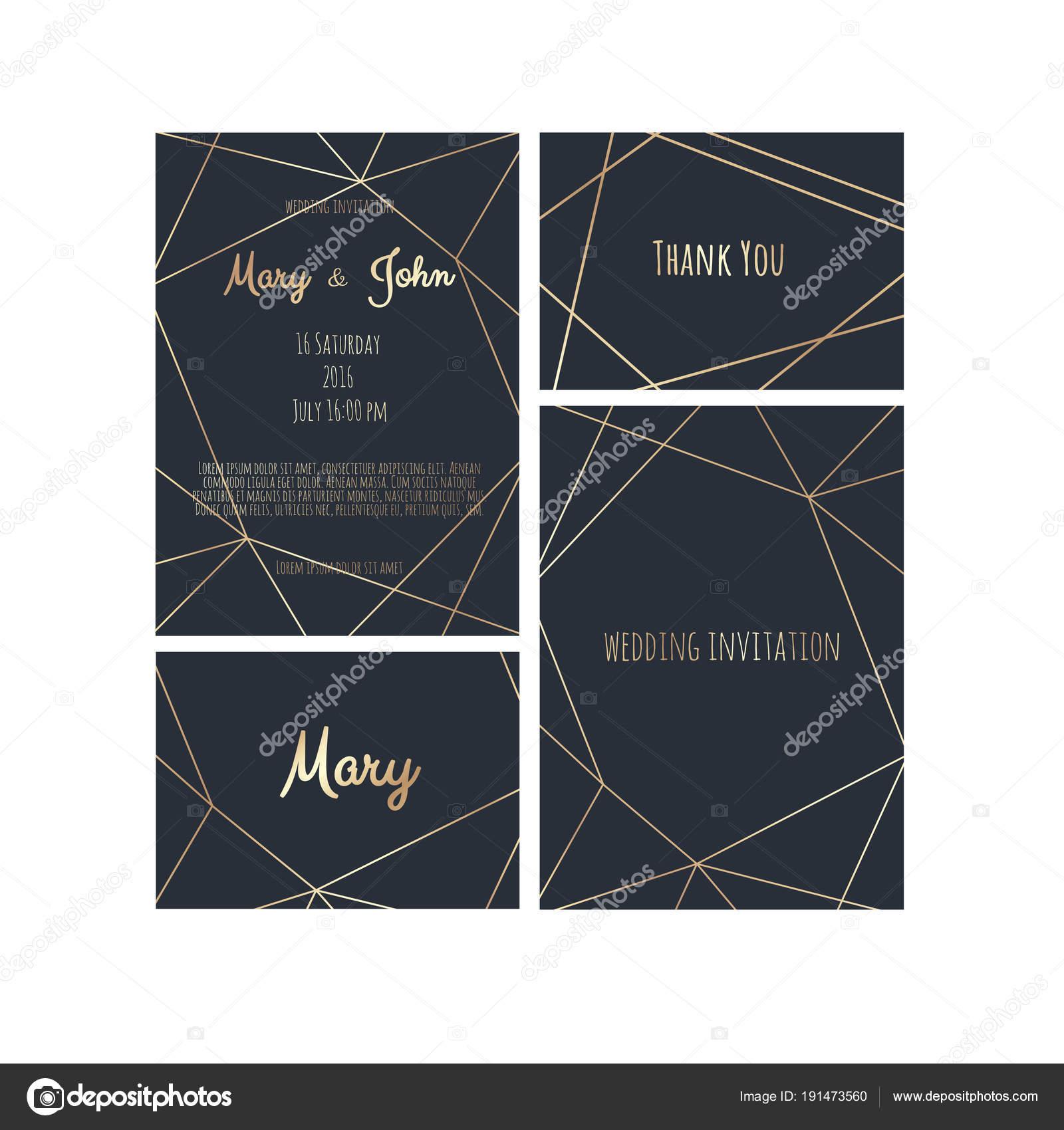 Wedding invitation invite card design with geometrical art lines wedding invitation invite card design with geometrical art lines gold foil border frame stopboris Gallery