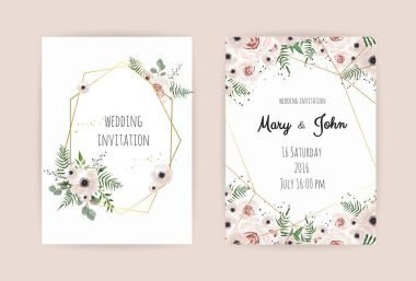 Wedding invite, invitation, design with elegant pink rose and anemone,branches leaves, cute golden geometrical pattern. Vector template set