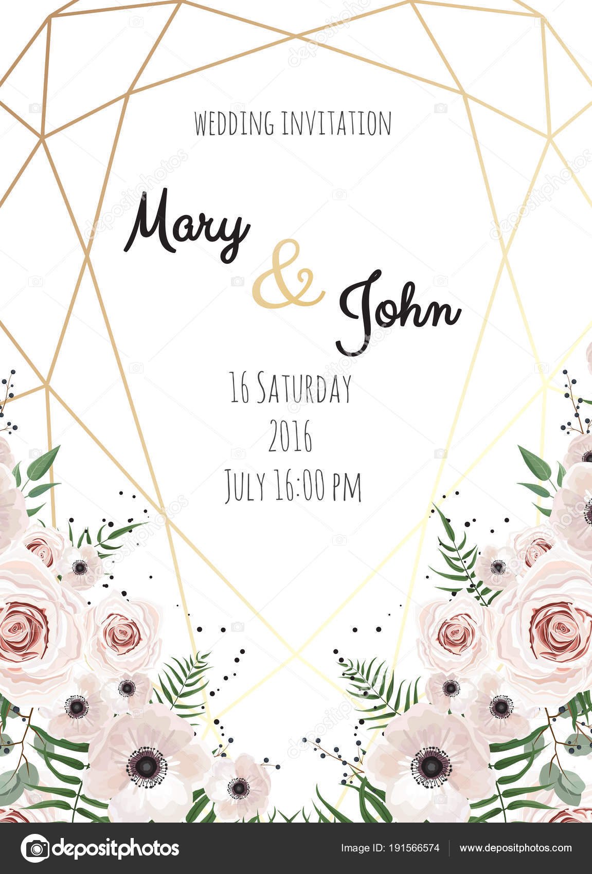 Vector invitation with handmade floral elements with polygonal frame vector invitation with handmade floral elements with polygonal frame wedding invitation cards with floral elements stopboris Gallery