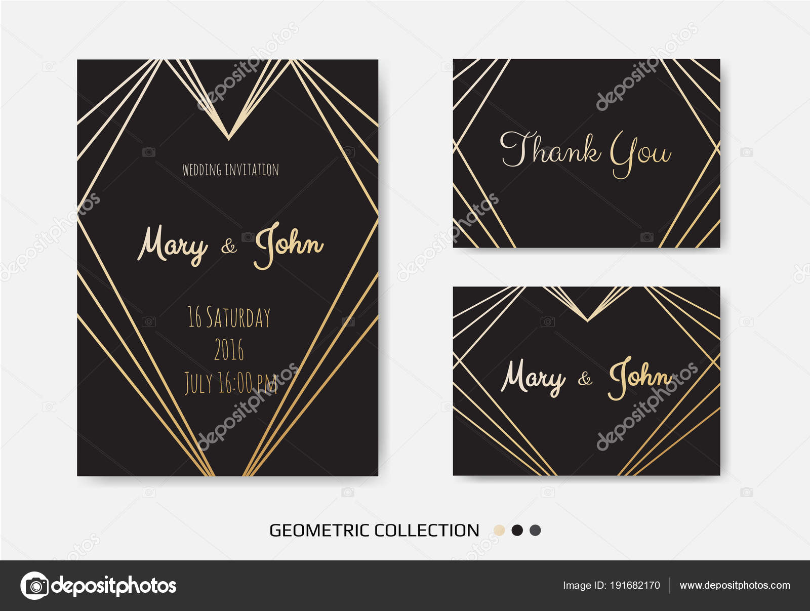 Wedding invitation invite card design geometrical art lines gold wedding invitation invite card design with geometrical art lines gold foil border frame isolated on white background vector by anasteisha stopboris Image collections