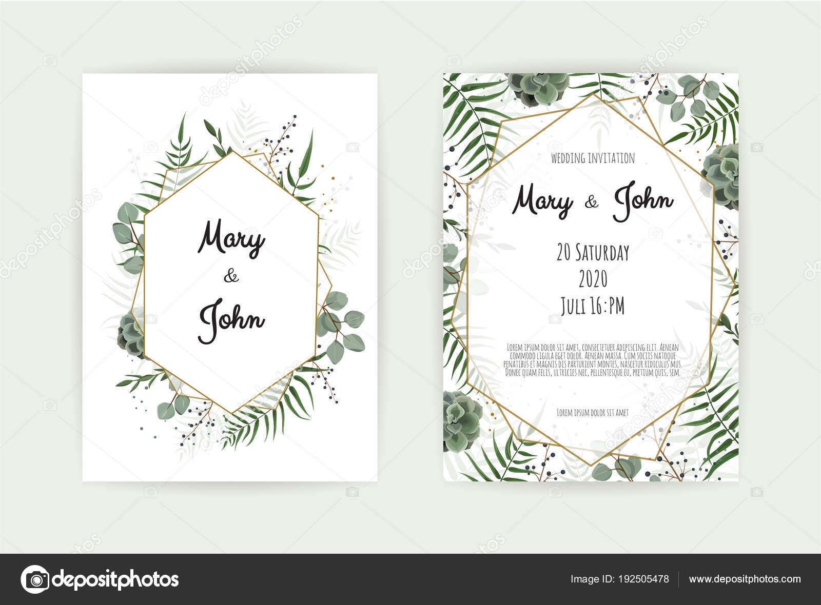 vector illustration design natural botanical wedding invitation