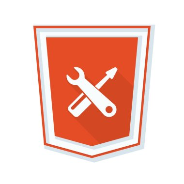 wrench and screwdriver in shield