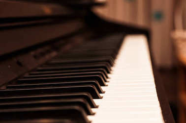 white and black piano keys, close-up