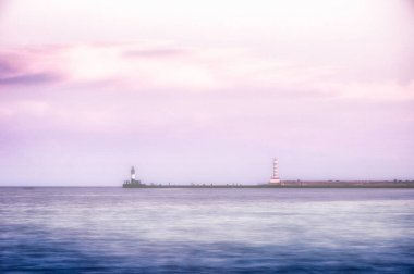 panoramic view of Lighthouse in sea at foggy morning, Odessa, Ukraine