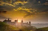 Kamyanets-Podilskiy vár a napnyugta időpontja, Ukrajna