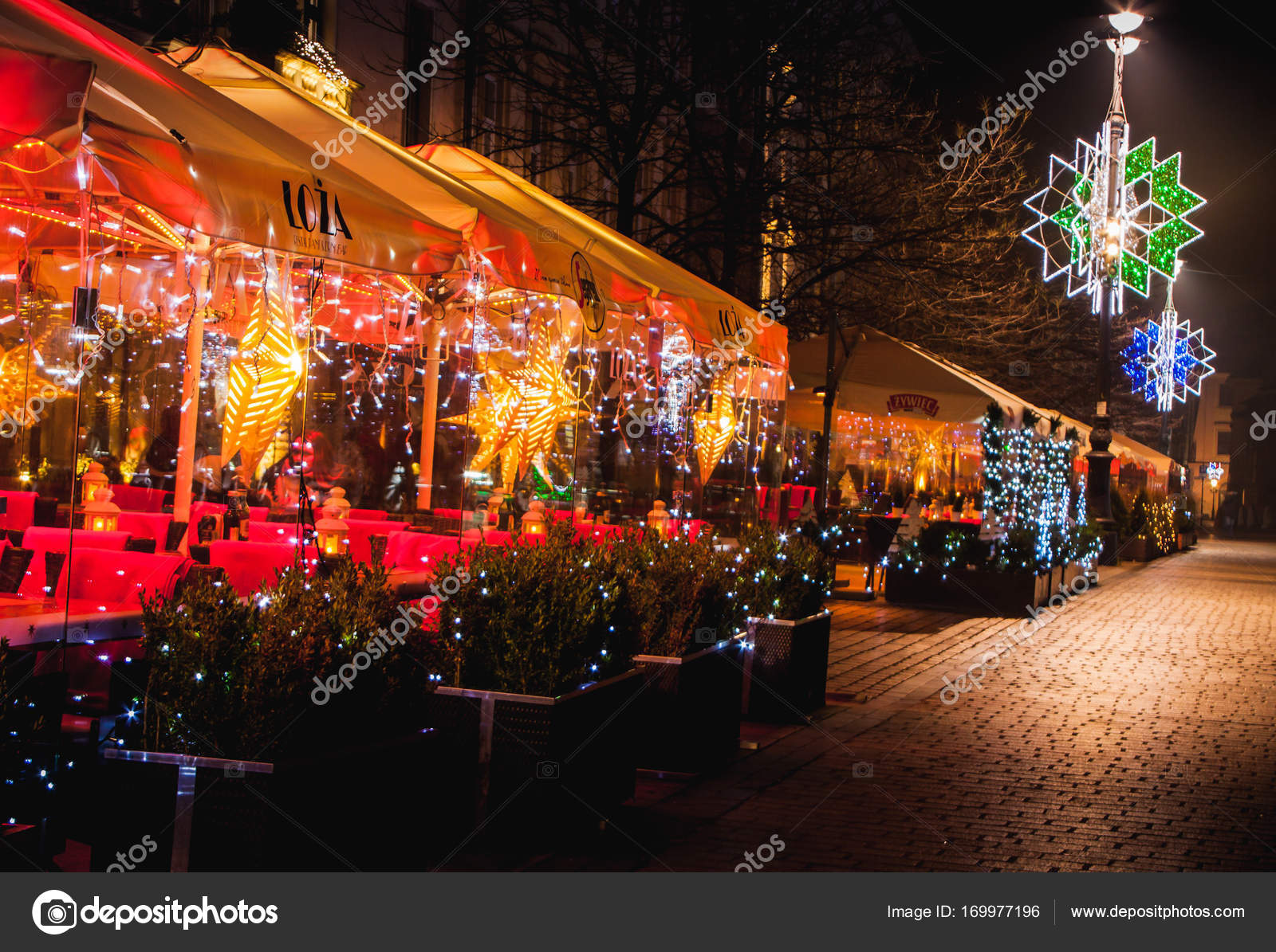 restaurant christmas decorations stock photo