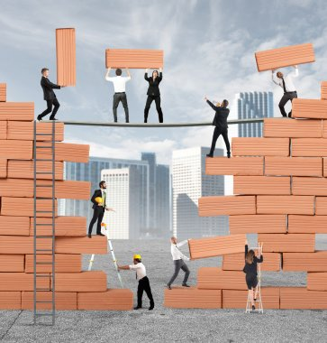 Business people  built together a big brick wall stock vector
