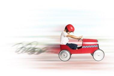 boy runs with toy car