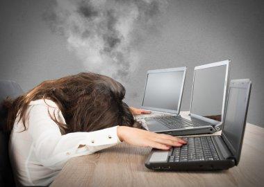 businesswoman against laptops