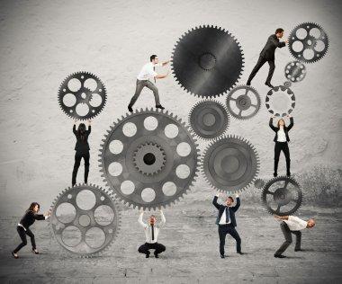 Teamwork of businesspeople work together