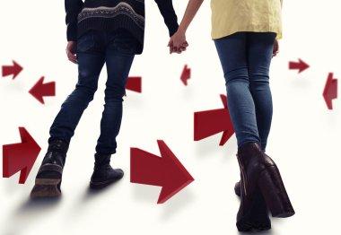 3D Rendering of couple walk between arrows stock vector