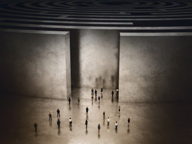People entering into a complicated labyrinth.