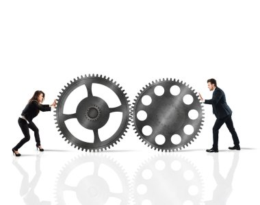 Teamwork of businesspeople working  together