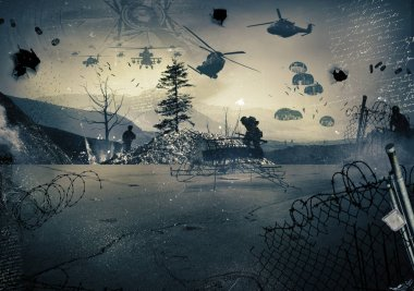 Background of a landscape at war with military helicopters in the sky stock vector