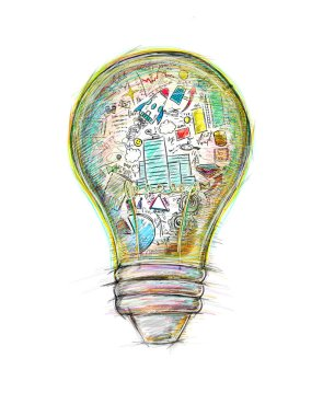 Lightbulb  with business sketches