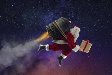 Santa Claus with gift box flies