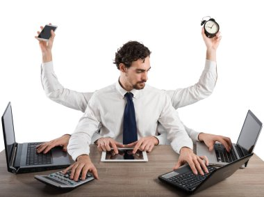 Businessman stressed by too many tasks