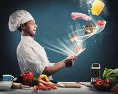 Kuchař přečte potravinové recepty