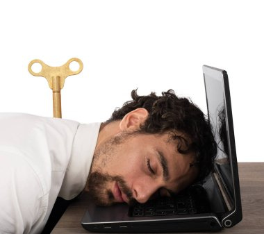 Businessman exhausted from overwork sleeping