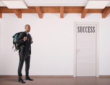 Businessman  looking  on door