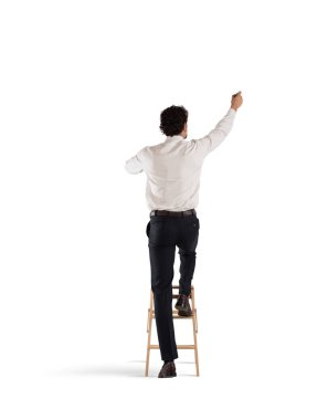 Man on a ladder draws