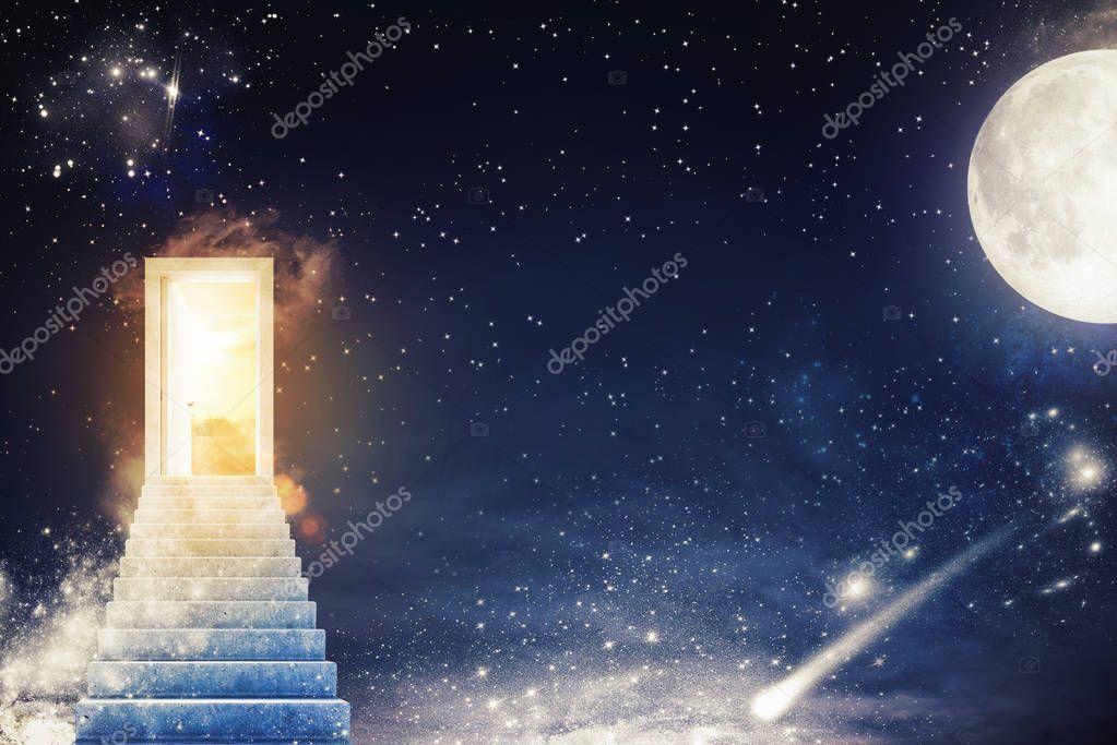 Door with sunlight on a starry sky