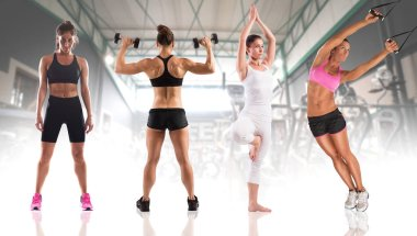 women  during fitness workout