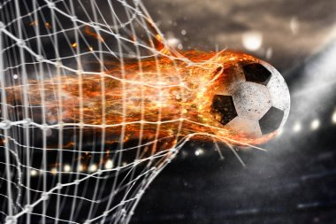 Professional soccer fireball leaves trails