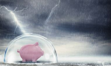 Piggybank safely inside a sphere