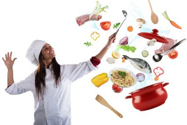 Woman chef cooking