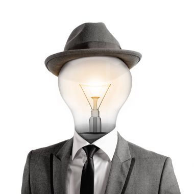 Man with a light bulb as head