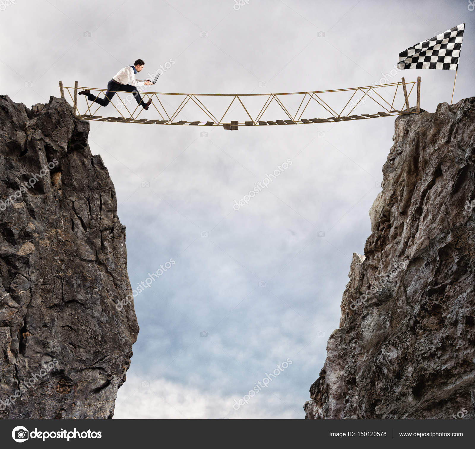 Businessman runs through a shaky bridge — Stock Photo © alphaspirit ...