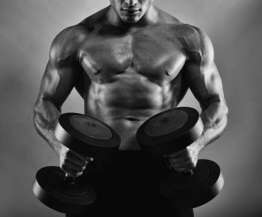 Athletic muscular man training
