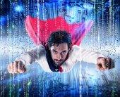 podnikatel jako superhrdina. připojení k Internetu