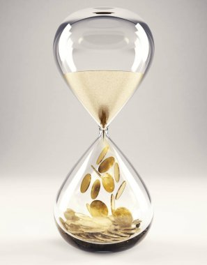 Hourglass with sand and gold money