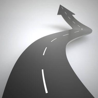 winding road rises upwards